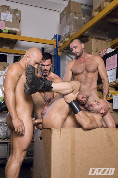 Gay muscle men group sex